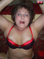 Busty Bliss. Red & Black Laced Bra & Hot Cock Sucking Free Pic 2