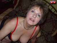 Busty Bliss. Red & Black Laced Bra & Hot Cock Sucking Free Pic 9