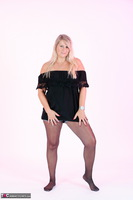 Sweet Susi. Denim Shorts & Nylons Free Pic 2