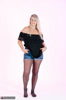 Sweet Susi. Denim Shorts & Nylons Free Pic 3