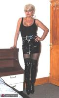 . Black PVC THigh Boots Free Pic 2