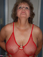 Busty Bliss. Red Fishnet Teddy Free Pic 6