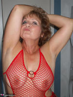 Busty Bliss. Red Fishnet Teddy Free Pic 13