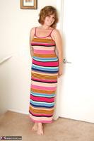 Misty B. Stripey dress striptease Free Pic 4