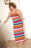 Misty B. Stripey dress striptease Free Pic 5