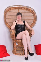 Hot Milf. Leather Corsage In Wicker Chair Pt1 Free Pic 1