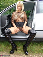 SweetSusi. Posing In My PVC Thigh Boots With The Car Free Pic 3
