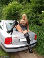 Sweet Susi. Posing In My PVC Thigh Boots With The Car Free Pic 15