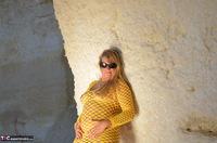 Sweet Susi. Yellow Net Top Free Pic 3