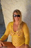 Sweet Susi. Yellow Net Top Free Pic 12