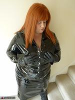 Mrs Leather. Shiny PVC Hobble Skirt Free Pic 2