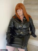 Mrs Leather. Shiny PVC Hobble Skirt Free Pic 5