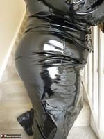 Mrs Leather. Shiny PVC Hobble Skirt Free Pic 12
