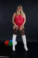 Sweet Susi. Red Net Lingerie & White Thigh High Boots Free Pic 6