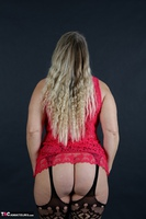 Sweet Susi. Red Net Lingerie & White Thigh High Boots Free Pic 8