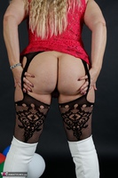 Sweet Susi. Red Net Lingerie & White Thigh High Boots Free Pic 11