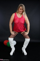 Sweet Susi. Red Net Lingerie & White Thigh High Boots Free Pic 12