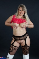 Sweet Susi. Red Net Lingerie & White Thigh High Boots Free Pic 13