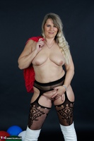 Sweet Susi. Red Net Lingerie & White Thigh High Boots Free Pic 16