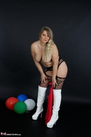 Sweet Susi. Red Net Lingerie & White Thigh High Boots Free Pic 19