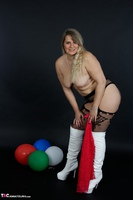 Sweet Susi. Red Net Lingerie & White Thigh High Boots Free Pic 20