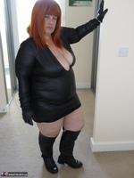 Mrs Leather. Wearing My Leather Slut Dress Free Pic 1