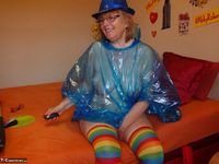 Abby Roberts. Posing In A Blue Transparent Raincoat Free Pic 11