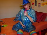 Abby Roberts. Posing In A Blue Transparent Raincoat Free Pic 13