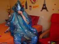 Abby Roberts. Posing In A Blue Transparent Raincoat Free Pic 20