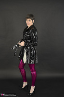 Hot Milf. Shiny Purple Leggings Free Pic 4