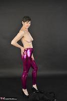 Hot Milf. Shiny Purple Leggings Free Pic 12