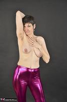 Hot Milf. Shiny Purple Leggings Free Pic 14