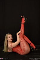 Luscious Models. Lotte Petite, Sexy Blonde In A Red Bodystocking Pt1 Free Pic 11