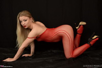 Luscious Models. Lotte Petite, Sexy Blonde In A Red Bodystocking Pt1 Free Pic 13