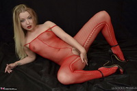 Luscious Models. Lotte Petite, Sexy Blonde In A Red Bodystocking Pt1 Free Pic 18