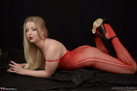 Luscious Models. Lotte Petite, Sexy Blonde In A Red Bodystocking Pt1 Free Pic 19