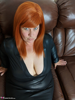 Mrs Leather. Leather Dress & Boots On The Sofa Free Pic 2