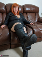 Mrs Leather. Leather Dress & Boots On The Sofa Free Pic 3