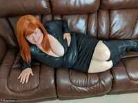 Mrs Leather. Leather Dress & Boots On The Sofa Free Pic 4
