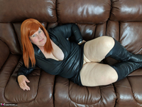 Mrs Leather. Leather Dress & Boots On The Sofa Free Pic 5