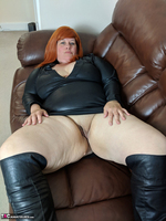 Mrs Leather. Leather Dress & Boots On The Sofa Free Pic 8