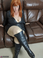 Mrs Leather. Leather Dress & Boots On The Sofa Free Pic 9
