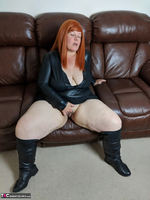 Mrs Leather. Leather Dress & Boots On The Sofa Free Pic 13