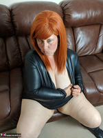Mrs Leather. Leather Dress & Boots On The Sofa Free Pic 14