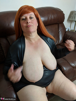 Mrs Leather. Leather Dress & Boots On The Sofa Free Pic 20