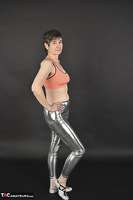 Hot Milf. Shiny Silver Leggings, Foil Packed Milf Free Pic 1