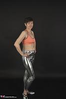 Hot Milf. Shiny Silver Leggings, Foil Packed Milf Free Pic 2