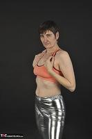 Hot Milf. Shiny Silver Leggings, Foil Packed Milf Free Pic 7