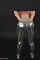 Hot Milf. Shiny Silver Leggings, Foil Packed Milf Free Pic 11