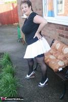 Kinky Carol. White Mini & Stockings Pt1 Free Pic 3
